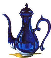 A slender blue tea pot that is part of the Kopi Pot logo